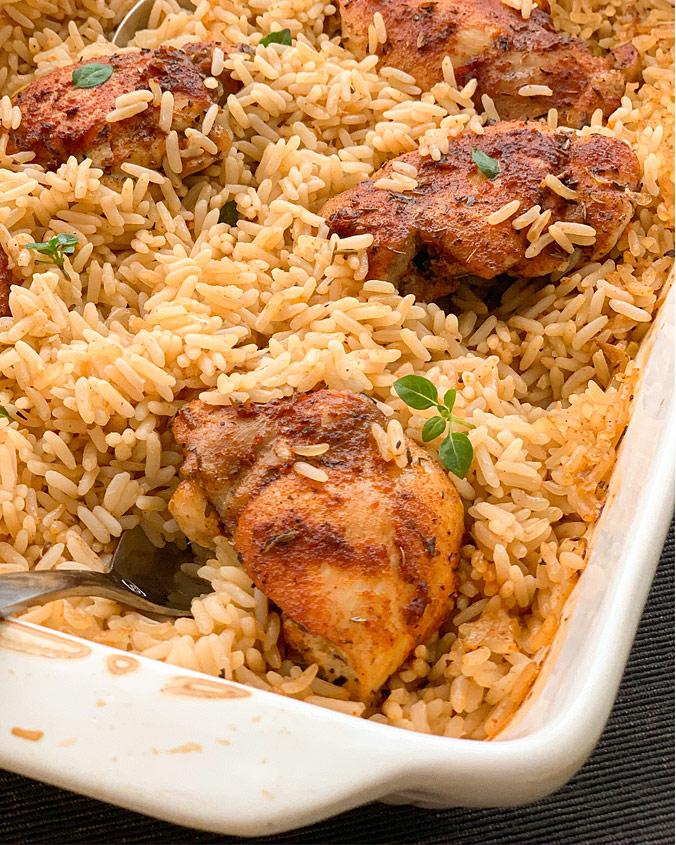 Запечённая курица с рисом